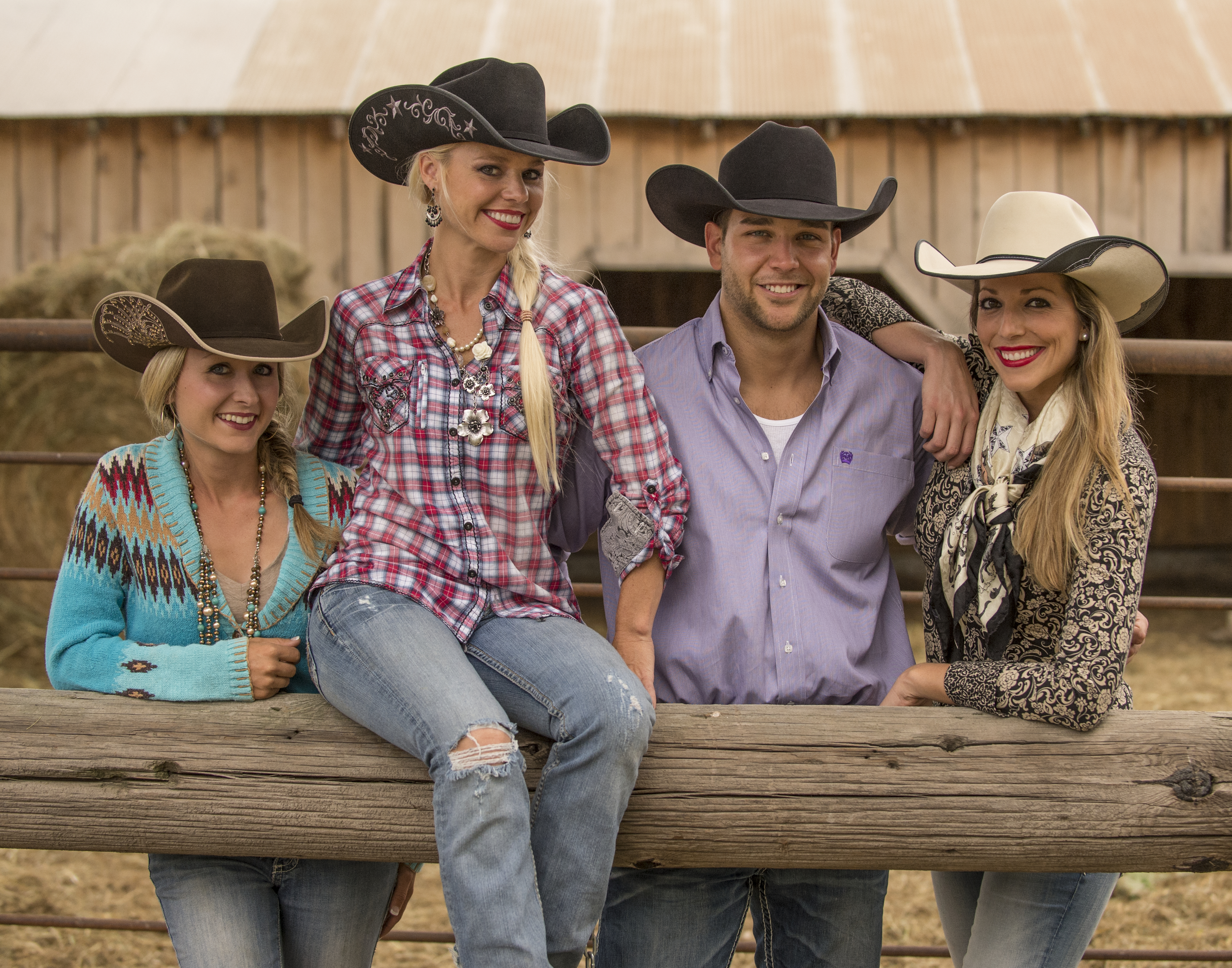 four cowboys and cowgirls in jw brooks custom hats