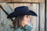 profile view of a black custom hat for women