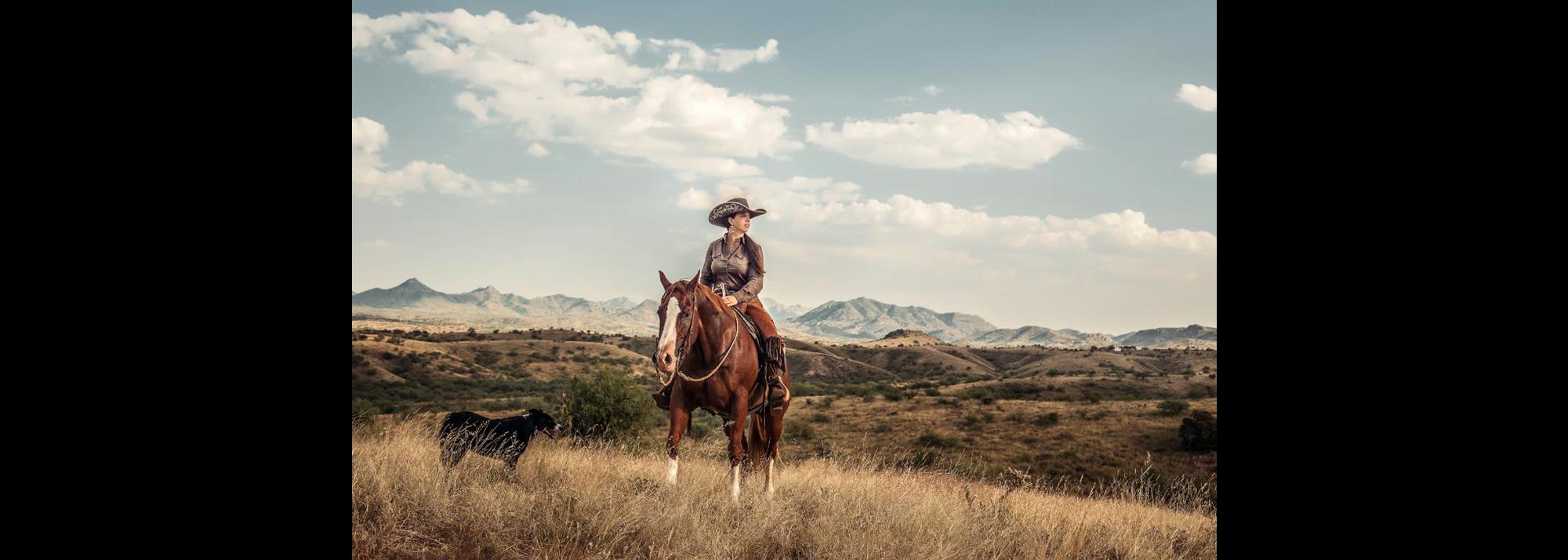 ambassador on horse with dog