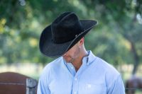 custom black hat with brim trim